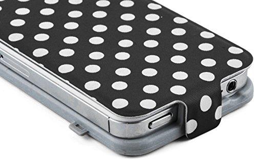 JAMMYLIZARD | Polka Dot Flip Case Hülle für iPhone 5 und 5s, SCHWARZ SCHWARZ