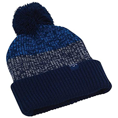 Callaway 2017 Pom Pom Thermal Beanie Mens Golf Bobble Winter Hat Navy/Charcoal