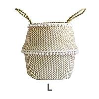 Goodtimera Storage Basket Natural Seagrass Woven Basket Laundry Basket Toy Storage Basket Wovening Home Storage Organisation, Foldable Plant Flower Pot