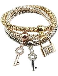 Hosaire 3Pcs/Lot Femme Bracelet Conception de clés et de cadenas Trois couches de chaîne épaisse Bijoux cadeau de l'amour
