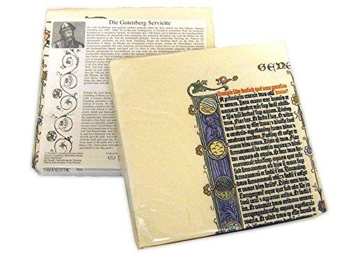 Die Gutenberg Serviette: Reproduktion einer Original Gutenberg Bibelseite im Sechsfarbdruck samt Einführungstext und Übersetzung der zentralen Bibelstelle