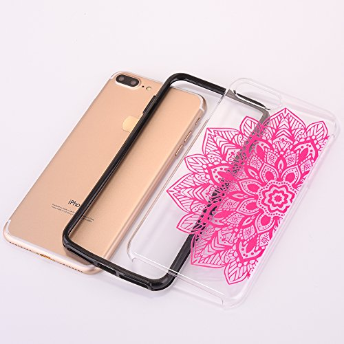 Custodia iPhone 7 Plus, iPhone 7 Plus Cover, SainCat Custodia in Plastica Protettiva Cover per iPhone 7 Plus, 3D Design Transparent Hard Case Ultra Slim Sottile Transparent Hard PC Cover Shock-Absorpt Mezza rosa, fiore