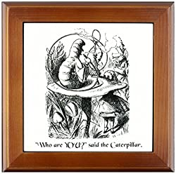 3dRose ft_193796_1 Who are You-Smoking Caterpillar Quote from Alice in Wonderland-Framed Tile Artwork, 8 by 8-Inch