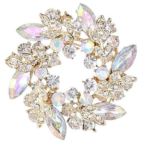 EVER FAITH® Women's Austrian Crystal Flower Wreath Brooch Pin Iridescent Clear AB Gold-Tone