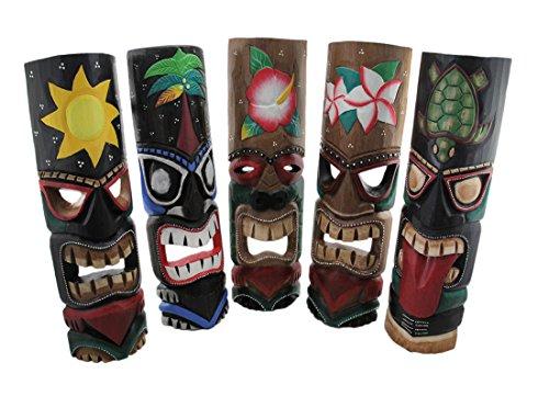 Madera-juego-de-mscaras-decorativas-de-5-Tropical-madera-tallada-a-mano-Tiki-de-mscaras-19-cm-55-x-19-x-4-cm-Multicolor-Modelo-TM22