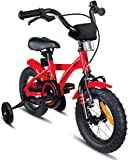 Prometheus Kinderfahrrad 12 Zoll Jungen Mädchen Rot Schwarz ab 3 Jahre mit Stützräder und Rücktritt - 12zoll BMX Modell 2019