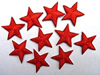 * Pack of 10 Red iron-on or sew-on star patches / applique *