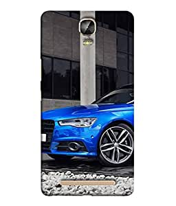 PrintVisa Designer Back Case Cover for Gionee Marathon M5 Plus (Dark Blue coloured express car)