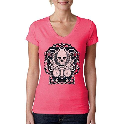Biker Girlie V-Neck Shirt - Mechanical Skull by Im-Shirt Light-Pink