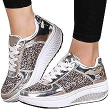 JiaMeng Cuñas Zapatillas de Deporte Lentejuelas Zapatos Shake Moda Chicas Calzado Deportivo de Deporte Mujer Zapatos