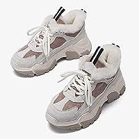 Aegilmcii Trendy Dad Sneakers Women Chunky Sneaker Shoes Warm Black Beige,Beige,XXXL
