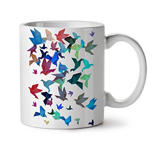 Wellcoda Origami Vogel Kunst Keramiktasse, Kunst - 11 oz Tasse - Großer, Easy-Grip-Griff, Zwei-seitiger Druck, Ideal für Kaffee- und Teetrinker