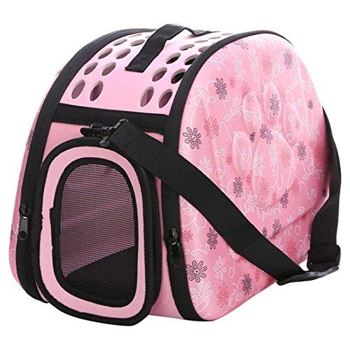 Transportin Perro/Transportin Gato, Respirable Plegable Bolsa de Viaje para Mascotas (M Espuma, Rosa)