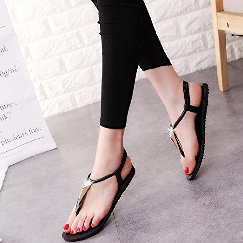 Transer® Damen Sandalen Flach Strass T-Gurt Toepost Elastischer PU-Leder+Gummi Schwarz Grün Sandalen (Bitte achten Sie auf die Größentabelle. Bitte eine Nummer größer bestellen) Schwarz