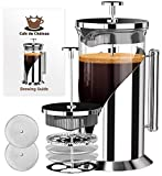 Cafe Du Chateau 34oz French Press Coffee Maker, 4 Level Filtration System, 304 Grade Stainless Steel, Heat Resistant Borosilicate Glass