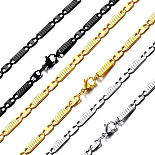ChainsHouse 5MM breit 22'' hochwertige Twill Halsektte in Farbe Gold männliche Halskette für jeden Alltag Gold-twill