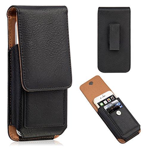 "kiwitatá Sacchetto Verticale Flip Belt Clip Leather Case Holster Bag Custodia a fondina - Custodia Verticale da cintura in pelle Custodia a portafoglio per Iphone 7 Plus/ 6s Plus/ 6 Plus (Nero 5.5"")"