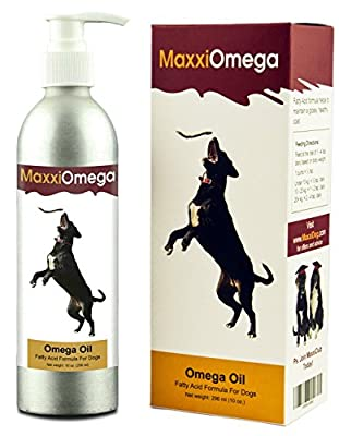 MaxxiOmega Oil for Dogs with Easy to Use Pump - Omega 3, 6 & 9, plus Vitamins A, D & E and Biotin - For Healthy Skin & Shiny Coat - No Fishy Smell - Liquid Supplement 296 ml by MaxxiDog