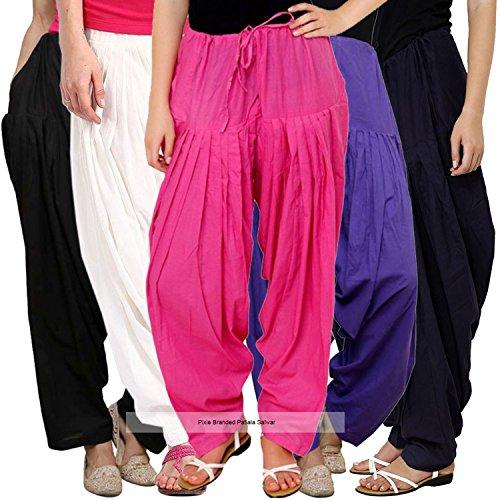 Pixie Readymade Plain Traditional Cotton Comfort Punjabi Patiala Salwar Pants for Women...