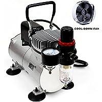 Compresor aerógrafo profesional Abest, con enfriador, un pistón, minicompresor de aire, con tanque para 3 litros, regulador, filtro para agua