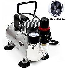 ABEST - Compresor aerógrafo profesional, con enfriador, un pistón, minicompresor de aire, regulador, indicador y filtro para agua