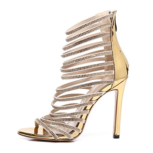 UFACE Bankett Frauensandalengold des GroßEn Diamanten Hohen Absatzes Summer Mode Luxus Diamant High Heel Damen Sandalen Party Hochzeit Heels (37, Stil 2 -Golden)