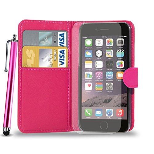 Apple iPhone 7 Plus - Ledertasche Flip Case Cover Tasche +Touch Stylus Pen + Screen Protector & Poliertuch ( Schwarz ) Hot Pink