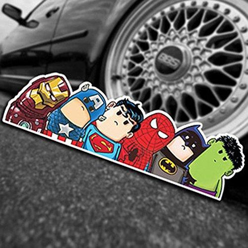 Image of SUPERHERO Car Sticker Ironman Captain America Superman Spiderman Batman & Hulk