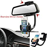 NAttnJf Universale Auto specchietto retrovisore Supporto Stand Clip per Smart Phone PDA MP3-nero