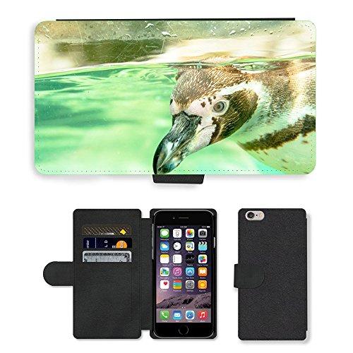 Just Mobile pour Hot Style Téléphone portable étui portefeuille en cuir PU avec fente pour carte//m00139911Sweet Pingouin Animal adorable Curious//Apple iPhone 6Plus 14cm
