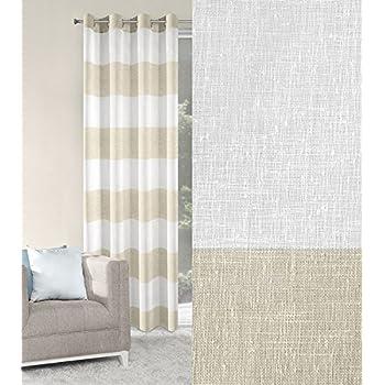 Amazon.de: Vorhang Ösenvorhang 140x250 cm Gestreift Noel weiß beige ...