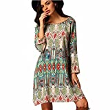 Women Dresses,Familizo Retro National Wind Loose Round Neck Dresses Clothes Autumn (UK:8(S), Green)