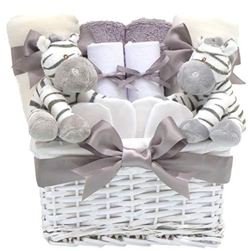 Zebra Lot de 2 paniers de luxe unisexe pour nouveau-né pour fête prénatale pour garçon et fille