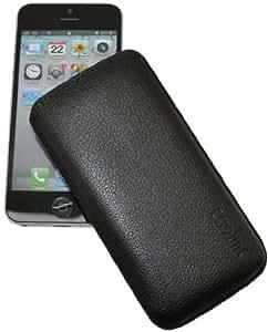 Original Suncase Echt Ledertasche für Apple iPhone 5 / 5S (Lasche mit Rückzugfunktion) in vollnarbig-schwarz