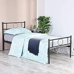 Aingoo Gästebetten Einzelbetten Metallbetten Metall Rahmen Bett mit Lattenrost Jugendbett Kinderbett Schwarz (90 x 190 cm)