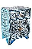 Orientalischer Holz Nachttisch Dimana Weiß Bunt 60cm Hoch | Orient Vintage Nachtkommode Orientalisch Handbemalt | Indischer Nachtschrank auch für Boxspringbett | Asiatische Möbel aus Indien