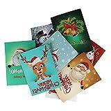 Bodbii 1pcs / 8pcs Diamant Gemälde Comic Mini Weihnachtsmann Frohe Weihnachten Papier-Gruß-Postkarten Fertigkeit DIY Kids Festival Greet Karten