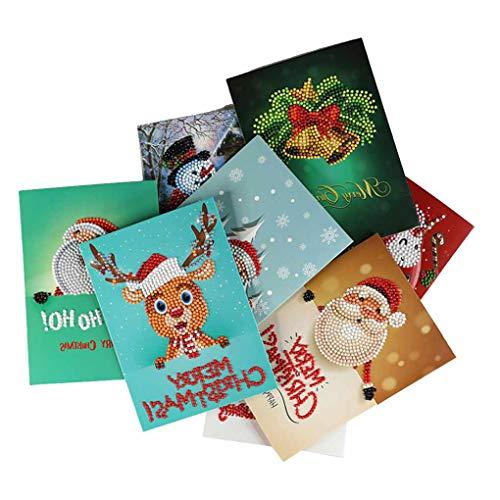 Topker 1pcs / 8pcs Diamant Gemälde Comic Mini Weihnachtsmann Frohe Weihnachten Papier-Gruß-Postkarten Fertigkeit DIY Kids Festival Greet Karten (Weihnachtsmann Postkarten)