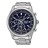 Seiko SPC125P1's Watch Quartz Chronograph Strap Blue Dial Steel Grey