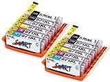 12 XL Cartouches d'encre compatibles avec Puce remplace Canon PGI-570 PGBK XL Noir,...