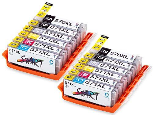 Start 12 XL Compatible CHIP Cartucce per Canon PGI-570 BK XL Nero, CLI-571BK XL Foto Nero, CLI-571C XL Ciano, CLI-571M XL Magenta, CLI-571Y XL Giallo, CLI-571GY XL Grigio