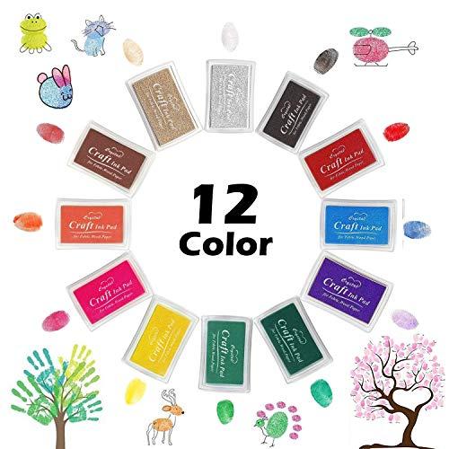 Almohadillas y sellos de tinta para niños. 12 colores para utilizar con los dedos
