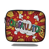 Juzijiang Tablet Bag for Ipad air 2/3/4/mini 9.7 inch,Graduation Decor,Colorful Congratulations Greeting Comic Book Style Explosion Blast Effect Decorative,Multicolor,Bag