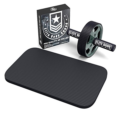 Elite Body Squad Ab Roller - Sale Now On - Top Quality Ab Wheel With Free Extra Thick Kneeling Mat   Bonus Weight Loss Plan - Perfect Home Gym Exercise Wheel With Soft Foam Handles - Great For Abs Workout And Core Tra