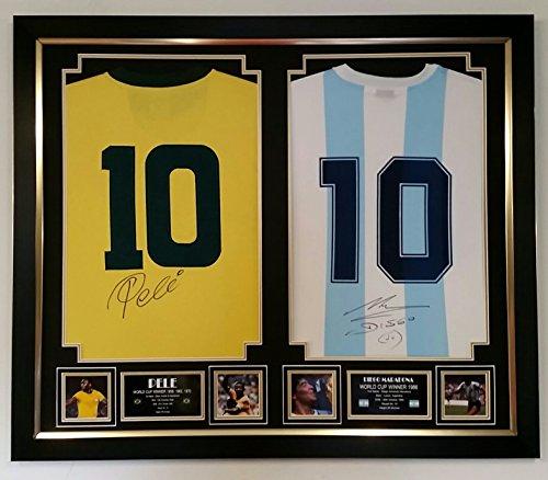 Camiseta fútbol firmada y enmarcada - Brasil y Argentina - Pelé y Ma