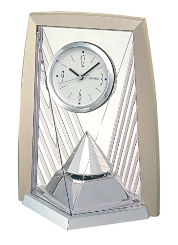 Seiko Tischuhr mit Drehpendel analog Kunststoff silber QXN206S (Standuhr Teile Pendel)