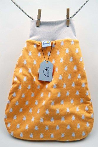 Strampelsack gefüttert, aus Bio-Baumwolle, 62 68 3-6 M, Schlafsack, pucken, Baby, Kind, Wiege, Bett, Kinderwagen, beige creme, orange gelb Käfer, Mädchen, Jungen