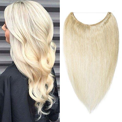 """TESS Extensions Echthaar günstig 1 Tresse Remy Haarverlängerung mit Draht Haarverdichtung Glatt 16""""(40cm)-60g(#60 Weißblond)"""
