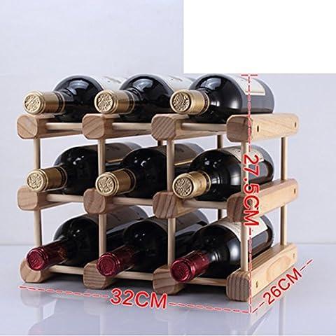 botellero de madera/estante del vino creativo/pino Decoración/muebles de estilo-F
