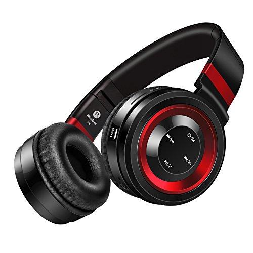 Picun P6 Drahtlose Bluetooth 4.0 Stereo On-Ear-Kopfhörer 2016 New Generation, Geräuschisolierenden, faltbar, kreative Ideen und beste Bluetooth Headsets Over-Ear für Smartphones (iPhone / Samsung) / Laptops / iPod / iPad / PC und die meisten Bluetooth-fähigen Geräten mit Micro, Lautstärkeregelung und Audiokabel In-line, TF-Karten-Unterstützung und FM-Radio-Funktion (Schwarz/Rot)